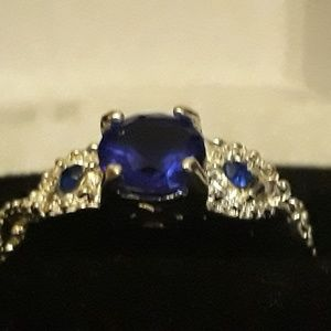 Sapphire and Diamond Ring Sterling Silver